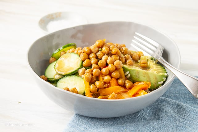 healthy chickpea buddha bowl with fork