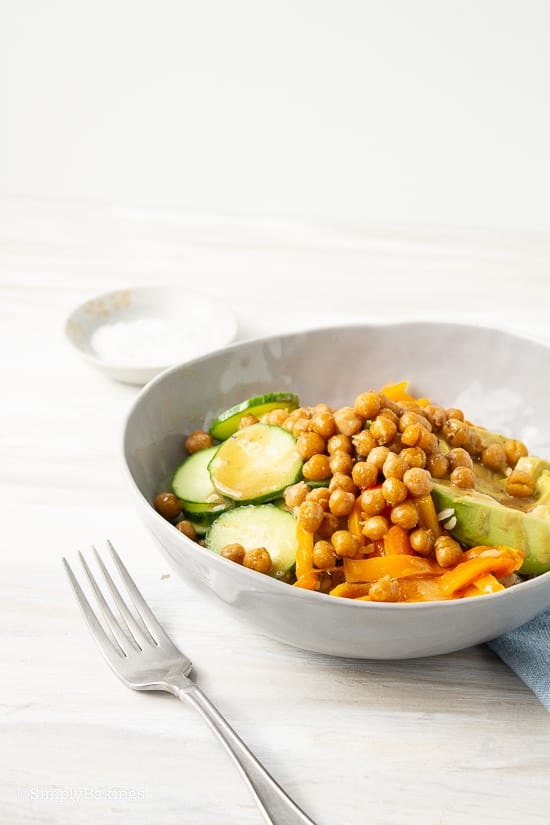 chickpea buddha bowl with fork on the side