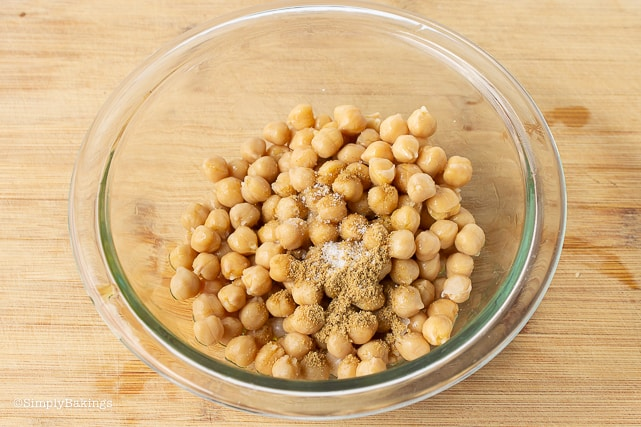 chickpea and spices in a bowl for chickpea buddha bowl recipe