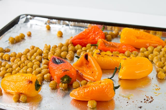 broiled peppers and chickpeas for chickpea buddha bowl recipe