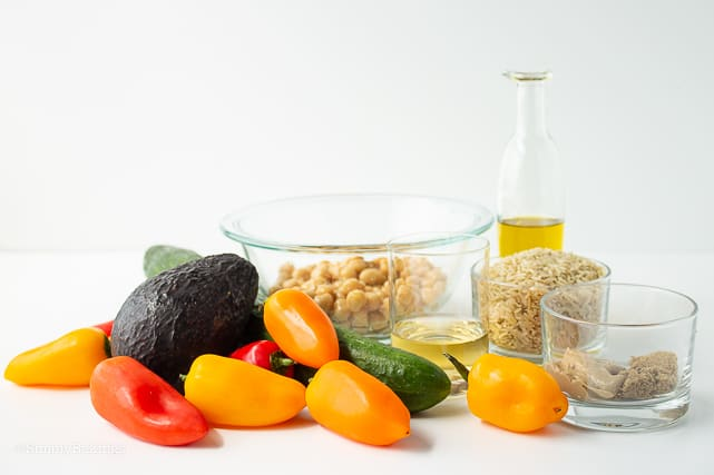 ingredients for chickpea buddha bowl recipe