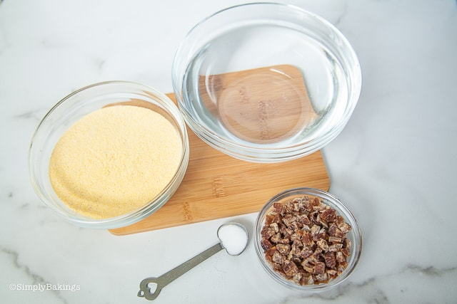 cornmeal mush ingredients and a chopping board