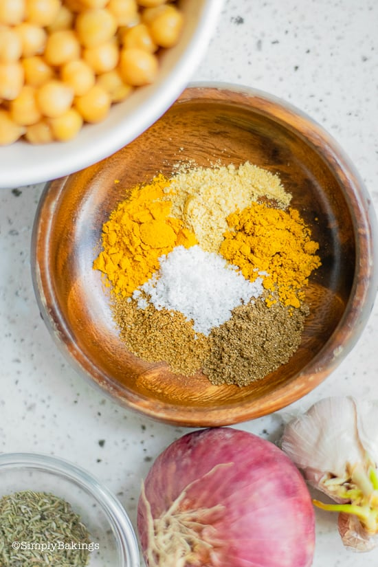 spices for curried chickpea wraps