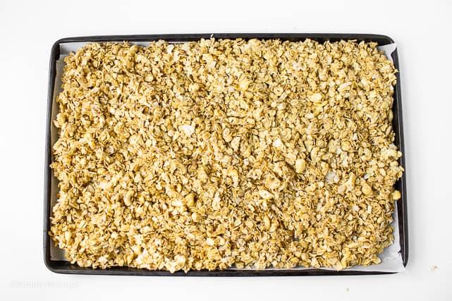 ready to bake granola in a baking pan
