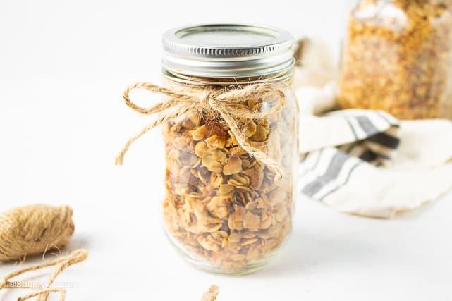 a jar full of homemade granola