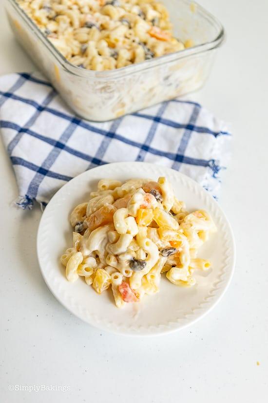 a plate of macaroni salad