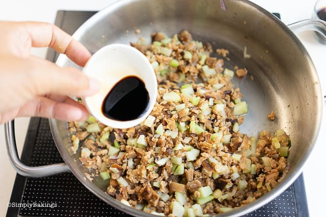adding soy sauce to the filling ingredients