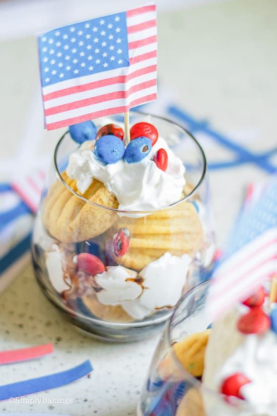 Patriotic Vegan Shortbread Trifle in a glass with American flag