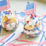 delicious Patriotic Vegan Shortbread Trifle in a glass with American flag