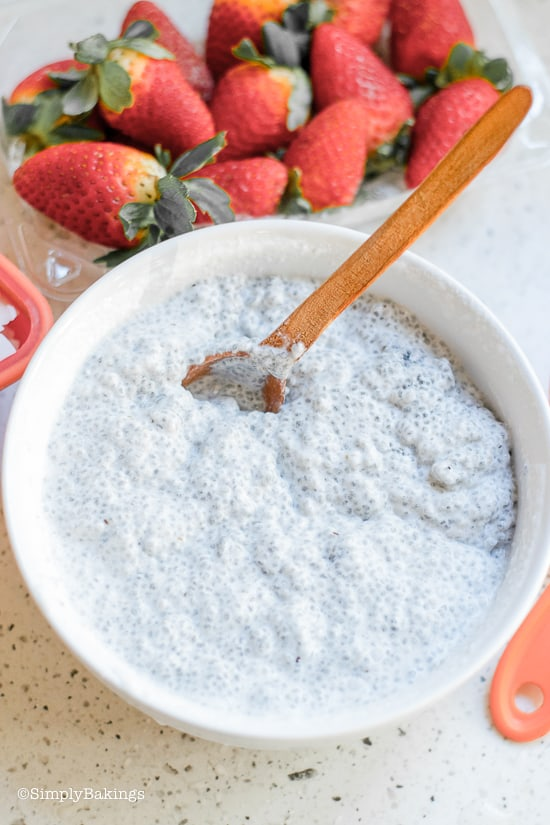 adding cream to the chia seeds for the coconut chia popsicles