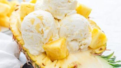 Pineapple Ice Cream with pineapple chunks