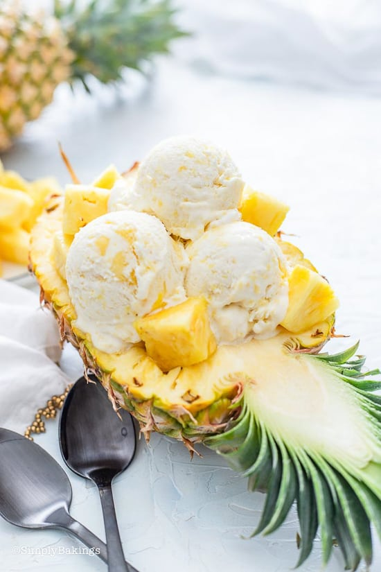 Pineapple Ice Cream with pineapple chunks