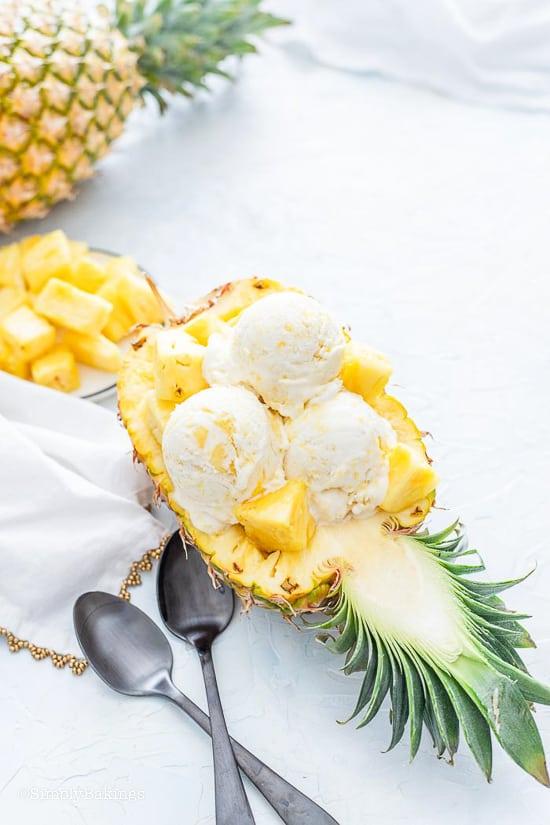 easiest Pineapple Ice Cream on a pineapple