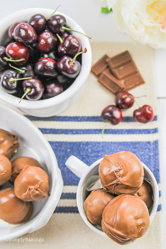 Northwest cherry growers in a white bowl covered with chocolate