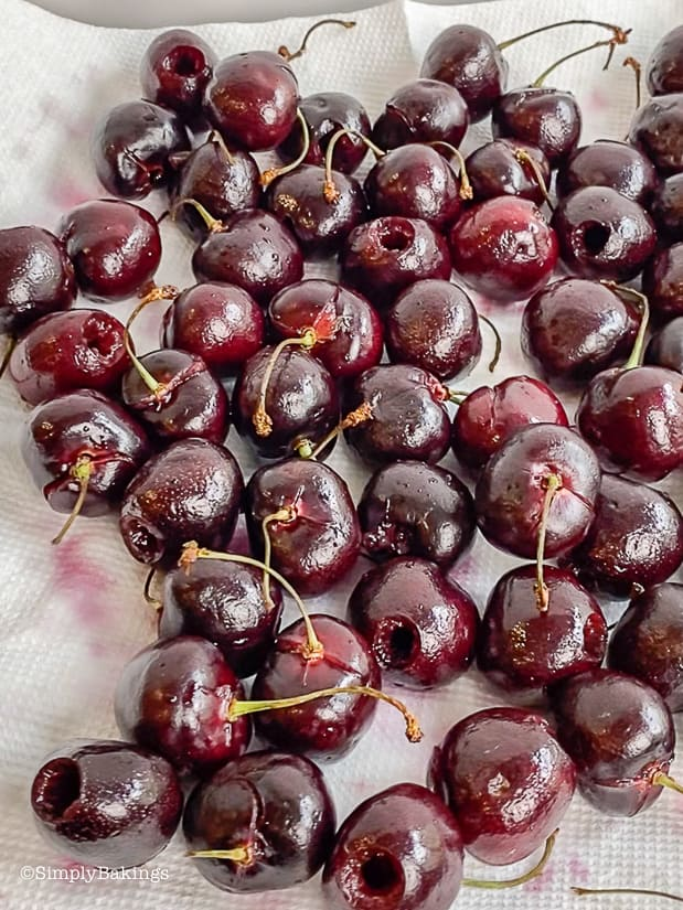washed northwest cherries on a white paper towel