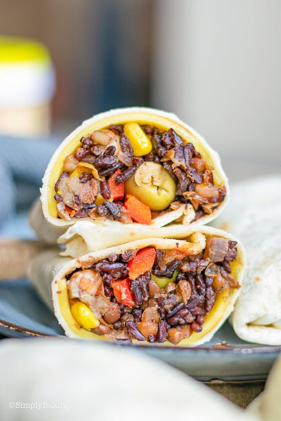 Easy Vegan Burrito sliced in half