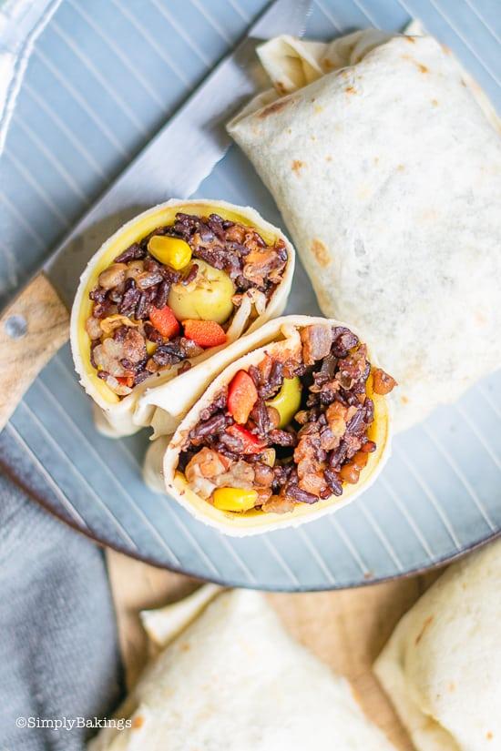 birds eye view of easy vegan burrito sliced in half