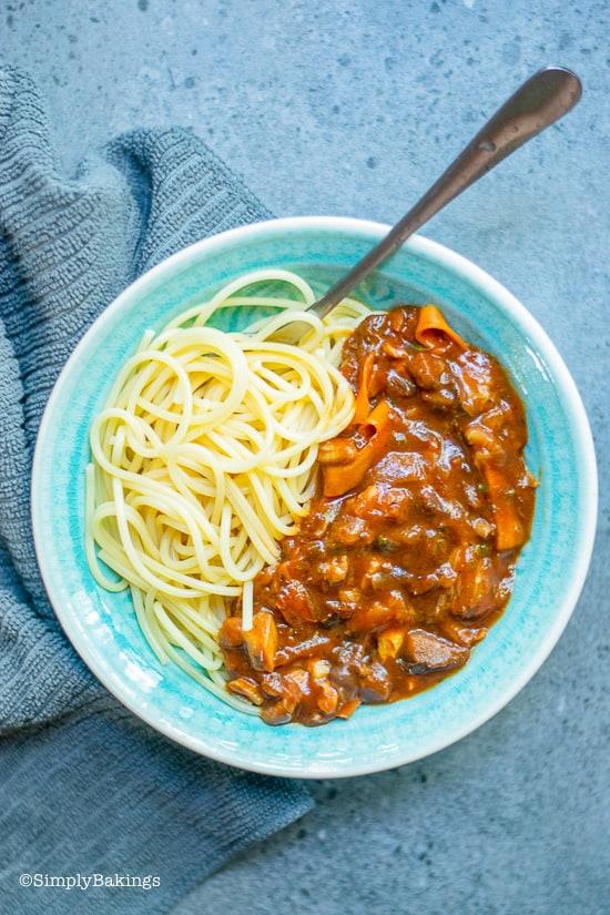 Vegan bolognese in a blue blue