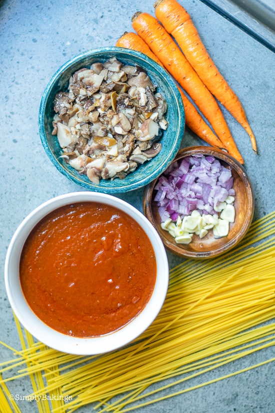 Ingredients for vegan bolognese