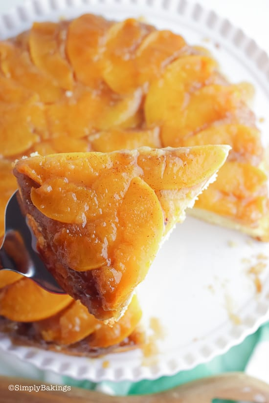 a slice of Peach Upside Down Cake