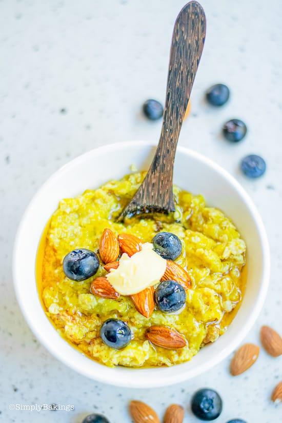 vegan pumpkin oatmeal in a white bowl