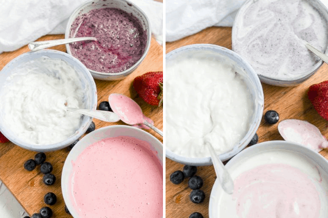 Ingredients for Berry coconut popsicles in white bowls on a brown cutting board