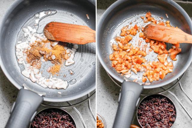 Easy Vegan Burrito ingredients cooking in a pan