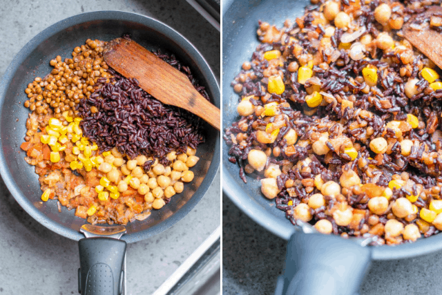Easy Vegan Burrito filling cooking in a pan