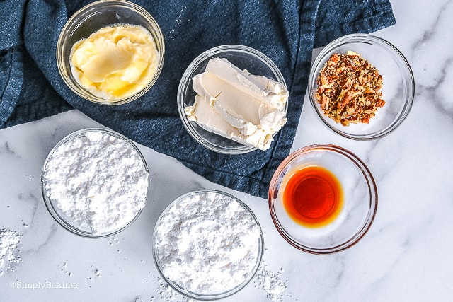 ingredients for pecan cream cheese frosting