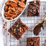 keto pumpkin brownies with pecans on a wire rack