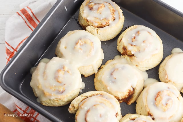 hot no yeast pumpkin cinnamon rolls on a pan