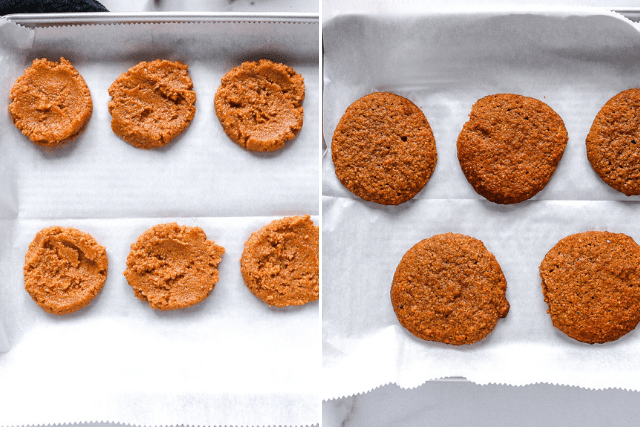 pumpkin cookies on a white parchment paper ready to be baked