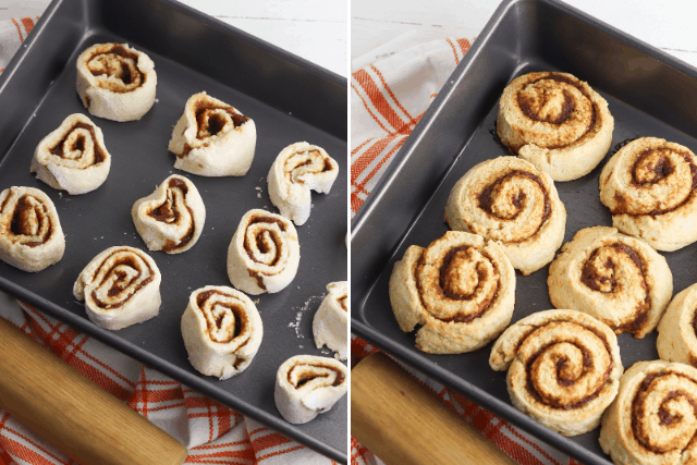 no yeast pumpkin cinnamon rolls on a pan unbaked