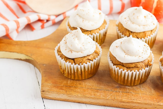pumpkin spice cupcake on a cutting board