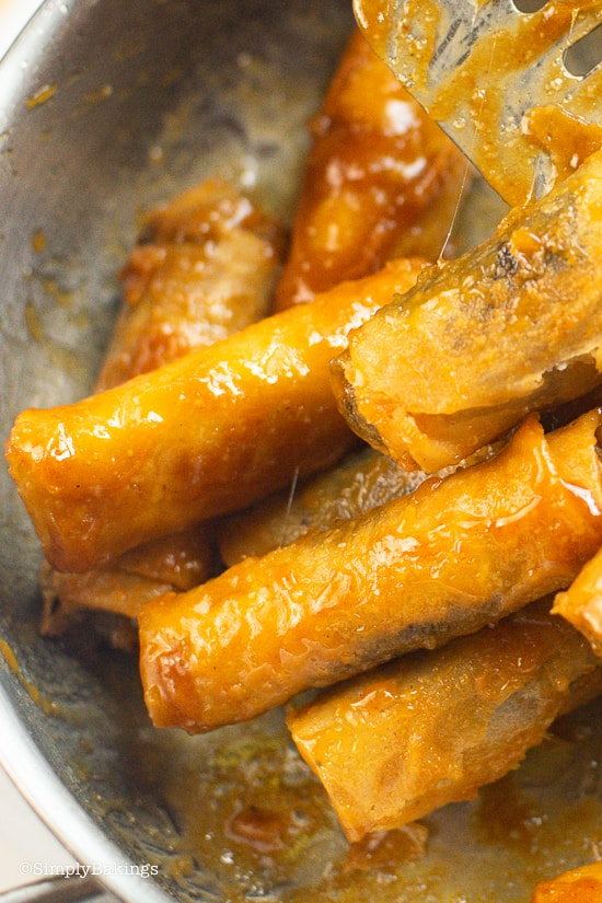 delicious fried kamote turon coated with caramelized sauce