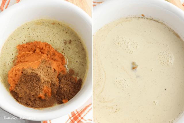 added vanilla extract, pumpkin puree, pumpkin pie spice, cinnamon, salt and evaporated milk in the mixture
