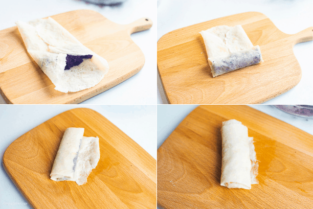 kamote ube filling and the plain filling rolled in a lumpia wrapper