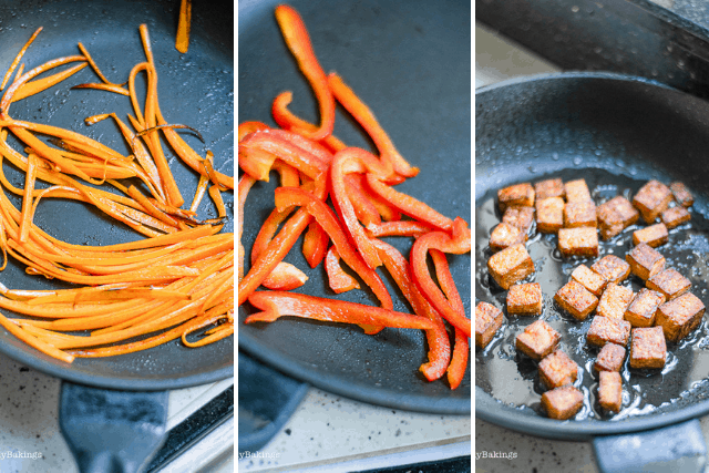 Frying vegetables and tofu in frying pan