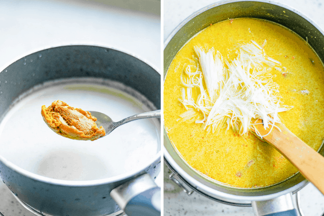 coconut milk, curry paste, and noodles in a sauce pan