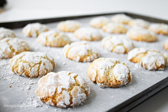 Vegan Chewy Amaretti Cookies on a baking sheet lined with parchment paper