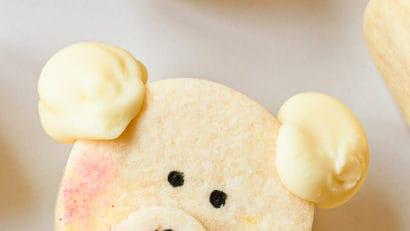 kawaii polar bear cookies on a white table