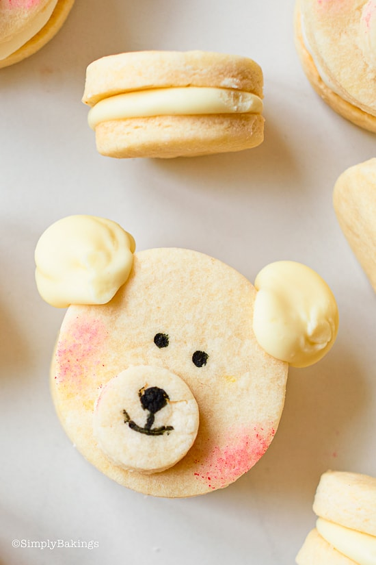 kawaii polar bear cookies on a white table