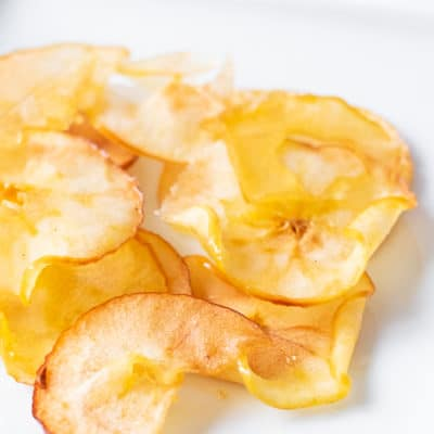 Apple Chips on a white plate