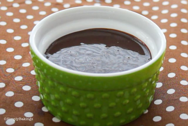 cooled ganache in green bowl