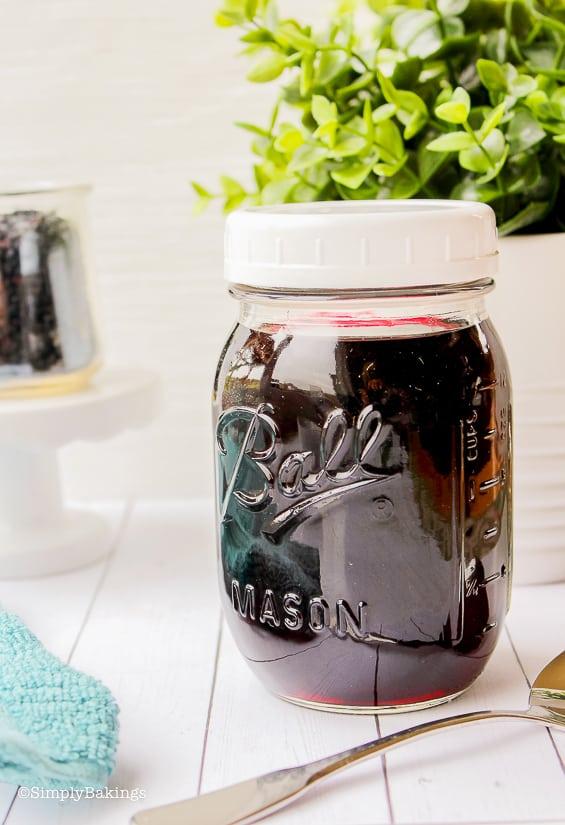 Elderberry syrup in a mason jar