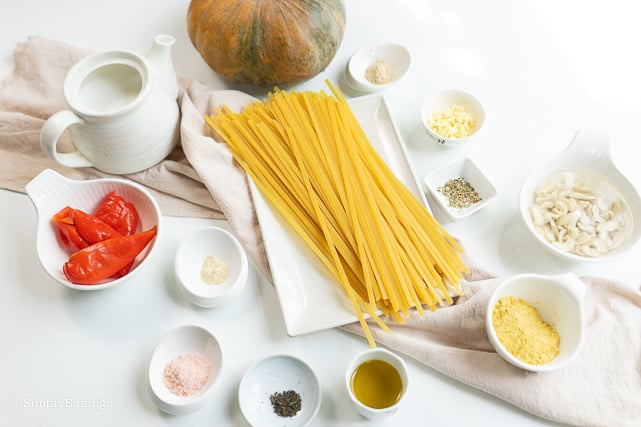 kalabasa pasta ingredients spread out on a table