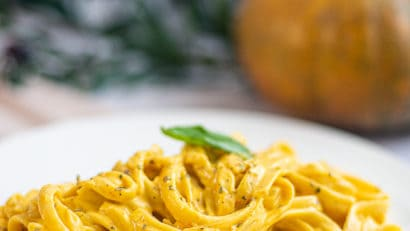 kalabasa pasta in a white plate