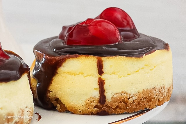 Mini Cherry Cheesecake with Ganache dripping on the sides