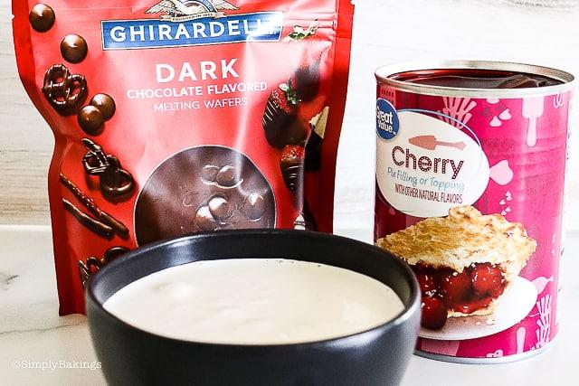 ganache and cherry ingredients