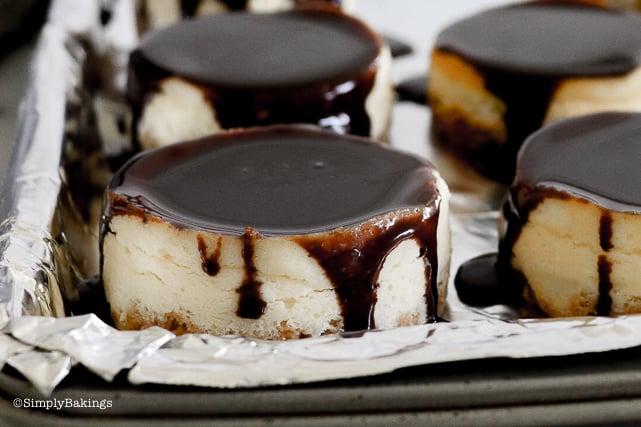 mini chocolate ganache on cheesecake